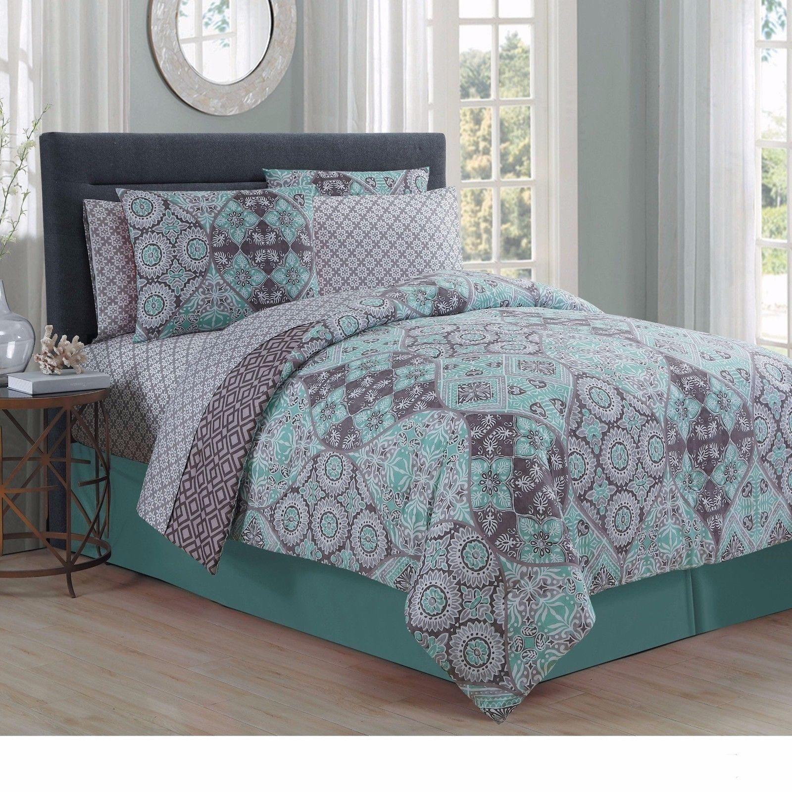 Queen King Bed Bag Mint Green Gray Damask Geometric 8 Pc Comforter Set Beddin The Clearance Castle Llc