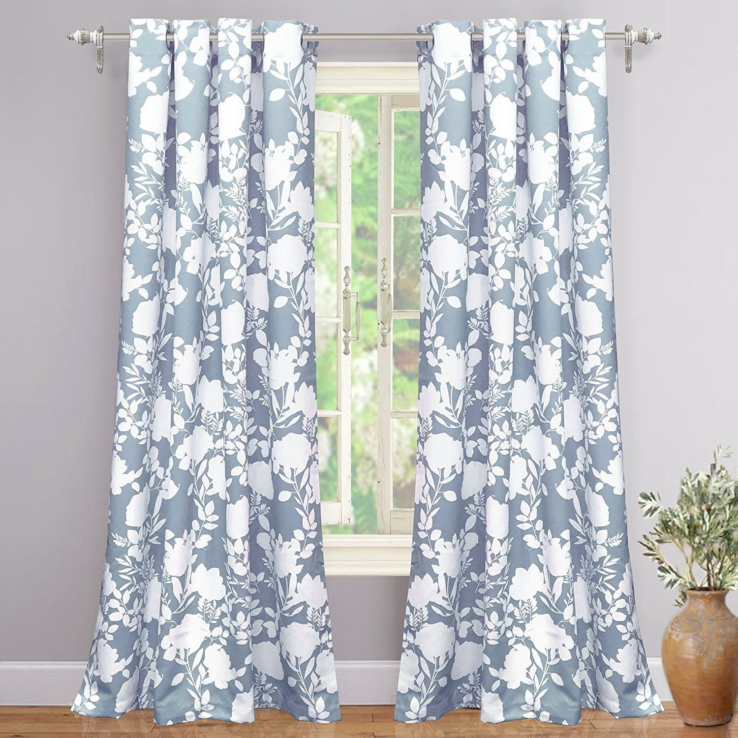 Set 2 Blue White Floral Vines Leaves Curtains Panels Drapes 84 Inch L Darkening The Clearance Castle Llc